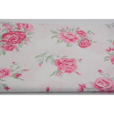 bawelna 100 rozowe kwiaty na bialym tle